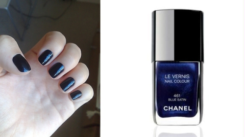 blue satin chanel